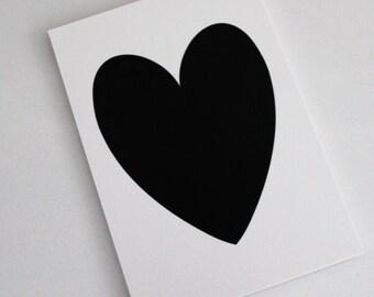 Black Shimmer Heart on White Shimmer background - PRINT 5x7