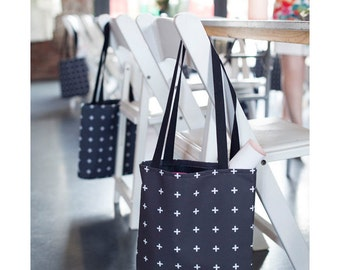 Black and White Tote Swiss Cross Plus Sign Tote Bag