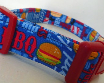 "Summer BBQ Fun Dog Collar -Barbecue BBQ  Picnic Dog Collar Hambugers Hot Dogs - ""BBQ Fun"" - Free Colored Buckles"