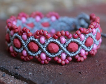 REDUCED Micro-Macrame Beaded Bracelet - Pink and Grey