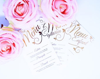 Be Our Guest Wedding Menus. White Card with Metallic Foil. Rose Gold, Copper, Gold, Silver and Holographic.