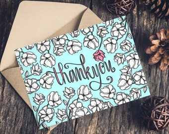Thank You Floral Greeting Card, Hand Lettering, Thank You Notes, Illustrated Pink Flower, Flowers, Best Friend Card, Note, Notecards