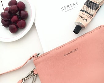 Personalized Clutch - Monogram Clutch - Cosmetic Bag - Makeup Bag - Wristlets Clutch - Personalized gift for her - Bridesmaid Gifts