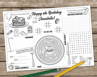 Pancake Coloring Page, Pancake and Pajama Party  Activity Mat, Pancake Printable Placemat, Pancake Game Placemat
