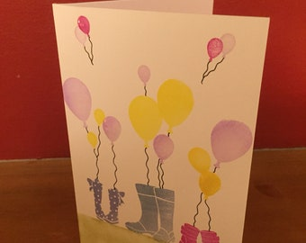 Handmade balloons and wellies card