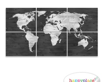 Whitewash world map etsy black and white world map print with timber wood grain texture office wall art in gumiabroncs Image collections
