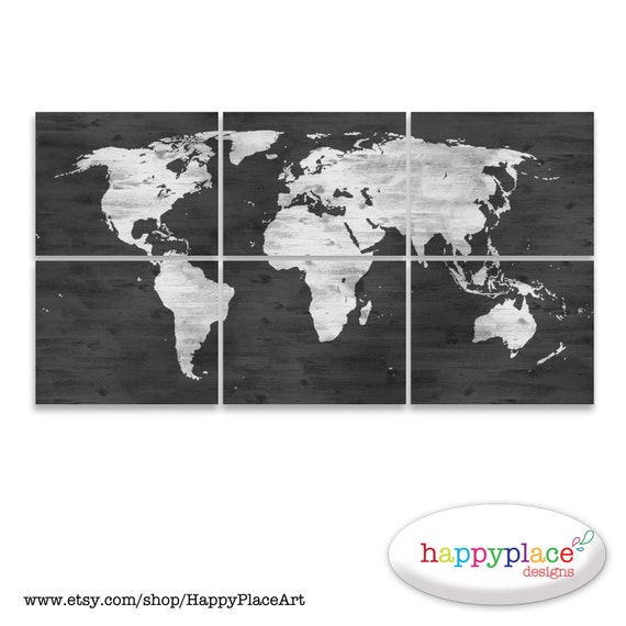 Black and white world map print with timber wood grain gumiabroncs Gallery