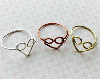 Heart Ring, Love Ring, Stacking Ring, Open Heart Ring, Promise Ring, Friendship Ring, Best Friend Gift, Girlfriend Mothers Day, Karma