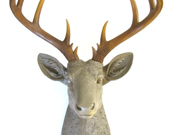 LIGHT BROWN with Natural-looking antlers Faux Taxidermy XL Deer Head wall mount wall hanging / farm house / neutral / fake deer head / stag