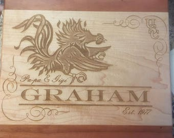 Personalized Wood Cutting Board, Laser Engraved