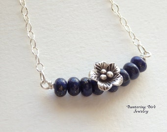 Lapis Bar Necklace, Thai Hill Tribe Silver Flower Pendant, Blue Gemstone Sterling Silver Necklace, Lapis Lazuli Jewelry, Mother's Day Gift