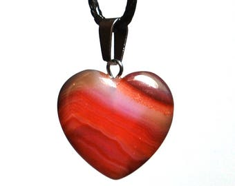 Carnelian Heart Pendant Necklace Natural Crystal Stone