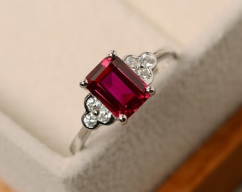 Lab ruby ring, rectangle ring, July birthstone ring, red ruby ring, rectangle ring