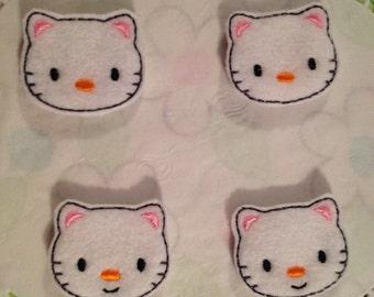 White Felt Kitty Face Applique-Set of 4