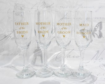 Personalised Wedding Glasses - Champagne Glasses, Wine Glasses - Gift Boxed - Bride, Groom, Bridesmaid, Mother of Bride, Bestman, Groomsman