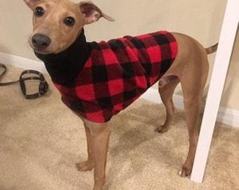 """Italian Greyhound Clothing. """"Lumber Jack Jacket"""" - Italian Greyhound Sizes"""