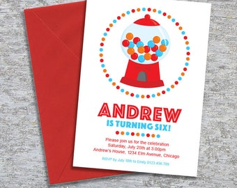 Gumball Party Invitation – DIY Printable Personalised – Red (Digital File)