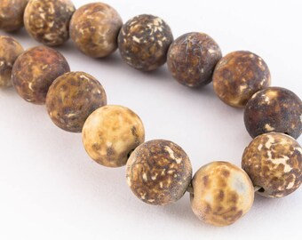 8mm Round Matte Dyed Mottled Brown Agate Strand (24 Pcs)