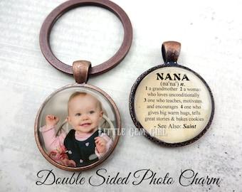 Custom Photo Nana Key Chain - Personalized Double Sided Nana Jewelry - Nana Dictionary Definition Charm - Nana Pendant Mothers Day Gift