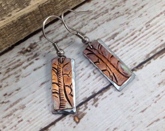 Tree Copper and Stainless Steel earrings