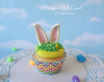 Fake Cupcake Handmade Easter Spring Faux Vanilla Fondant Bunny Rabbit Ears Home Decor