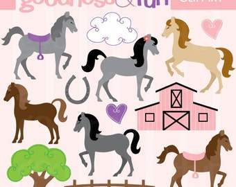 Buy 2, Get 1 FREE - Horseplay Horse Clipart -  Digital Horse Clipart  - Instant Download