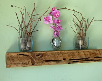 Reclaimed Wood Floating Shelf, Floating Beam Shelf, Floating Shelf, Rustic Shelf, Distressed Wood Shelf
