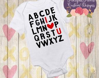 I Love You Alphabet Onesie Bodysuit or Youth T-Shirt