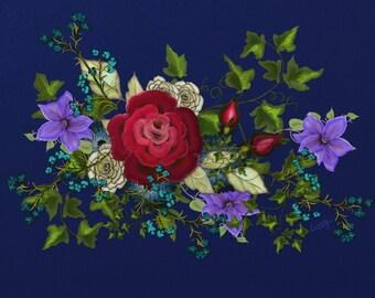 "Floral painting print, Original digital painting by Nancy Long ""Pink Metallic Rose on Blue"" Colorful bouquet. Nancylongdesigns"