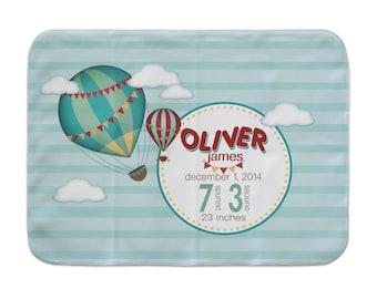 Personalized Baby Blanket, Hot Air Balloon, Custom Receiving Blanket, Baby Girl Blanket, Stroller Blanket, Hot Air Balloon Crib Blanket