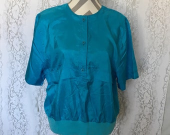 Vintage 80's/90's teal short sleeved blouse