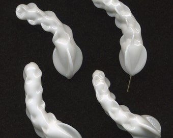 Vintage White Beads 45mm Twisted Glass in Very Unusual Shape Made in Japan