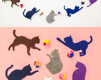 Diy Delightful Quirky and colourful cat/pom-poms garland/ party bunting