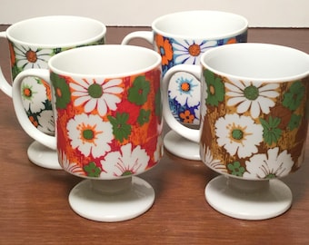 Set of 4 Mid Century Modern Stacking Flower Mugs Made in Japan Marked 600/13 Retro Kitchen Decor