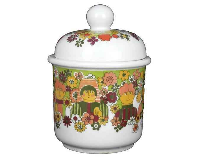 Norway Figgjo Flint Pot. Folklore Pattern Turi Design. Vintage Jam Jar. Ceramic Sugar Canister. Folk Art Container. Retro Kitchen Decor.