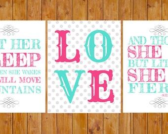 Let Her Sleep, Love, She is Fierce Nursery Decor Hot Pink Bright Blue Wall Art 3- 8x10 Digital JPG Files (93s3)