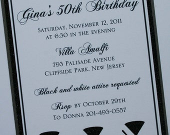 Cheers to You Black and White Elegance Invitation