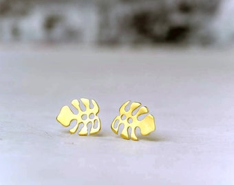 Solid Gold Leaf Earrings Monstera Studs Dainty solid 14k solid Gold plant lover tropical gift for her mothers day plant mom delicate minimal