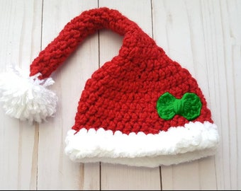 Baby Girl First Christmas Hat, Baby Santa Hat, Newborn Photo Prop, Baby Winter Hat, Baby Christmas Hat,  Longtail Hat, Baby Christmas Gift