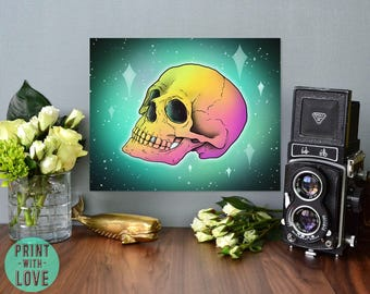 Rainbow Skull on Galaxy Space Background Goth Alternative Home Decor Graphic Design Illustration Unique Artwork Print FREE US Shipping