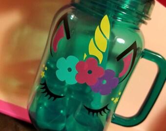 Girls unicorn tumbler cup