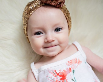 Gold/Rose Gold Ombre Sequin Top Knot