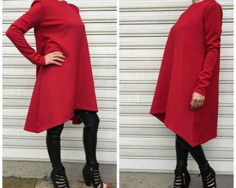 Asymmetrical Tunic Dress /Red  Long Sleeves Top / Loose Dress / Oversize Tunic Top