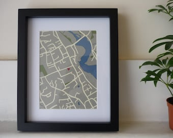 A personalised map - Made to order - Original hand-cut paper art