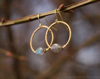 Labradorite and Hammered Brass Hhoop Dangle Earrings