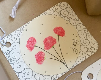 FLOWERS Note and Gift Tags, 8/pack, Perfect for an Extra Special Touch
