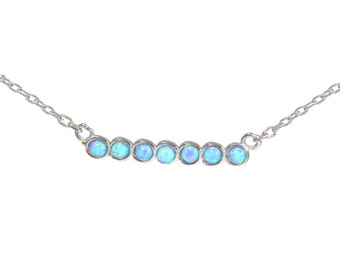 Blue Opal Bar Necklace - Dainty and Delicate Design in Sterling Silver 16'' - 18'' O3