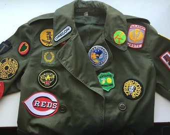 Custom boys GOONIES DATA Cosplay military trench coat jacket patches Costume