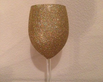 Glitter Wine Glass Gold