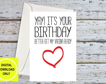 Naughty Birthday Card For Husband, Sex Card, Dirty Cards, Vagina Card, Sexy Birthday Card For Boyfriend, Naughty Cards For Him, Printable
